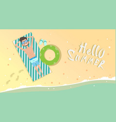 man on summer beach vacation seaside sand tropical vector image