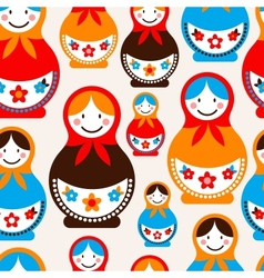 Matreshka doll - seamless pattern vector image