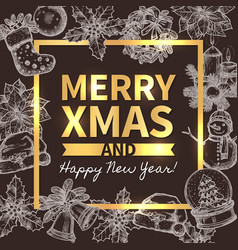 merry christmas trendy greeting card vector image