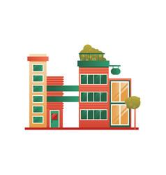 Modern brick city building facade vector