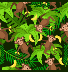 monkeys and bananas seamless pattern vector image