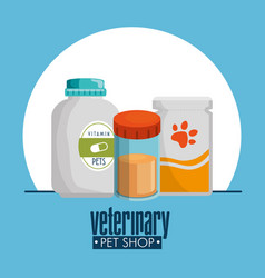Pet shop products set icons vector