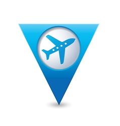 plane icon on map pointer blue vector image