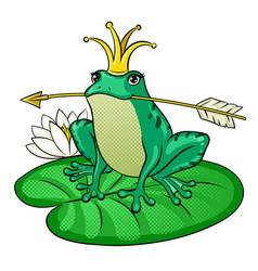 Princess frog pop art vector