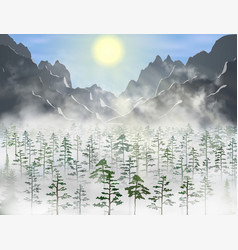 realistic pine and fir forest with a lot vector image