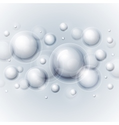 Realistic shiny transparent water drop bubbles on vector image