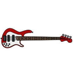 Red electric bass guitar vector