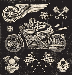 Scratchboard Motorcycle Elements vector