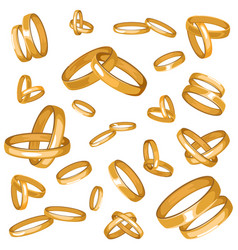 seamless pattern with gold couple rings vector image