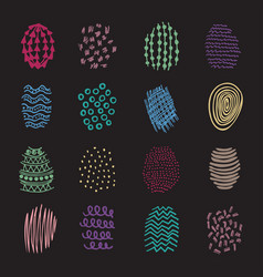 set 16 colorful hatching hand drawn vector image