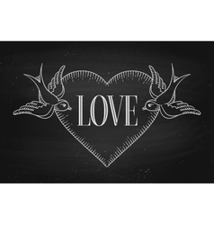 Set of old vintage ribbon banner with word Love vector