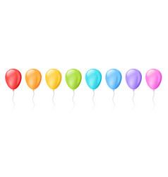 set realistic isolated colorful balloons for vector image