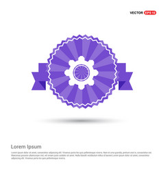 setting icon - purple ribbon banner vector image