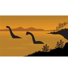 Silhouette of brachiosaurus in the water vector image