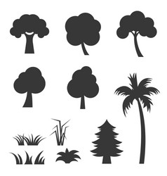 silhouette tree and grass icon set vector image