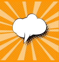 Speech bubble on orange pop art background vector