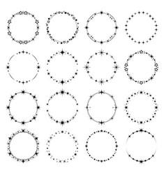 Stars round frames stardust rings shine effect vector