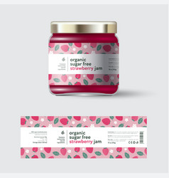 Strawberry gooseberry label packaging sugar free vector