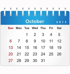 Stylish calendar page for October 2013 vector image