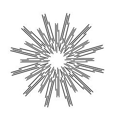 sun rays linear drawing on a white background vector image