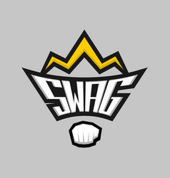 swag word logo badge with crown and fist vector image