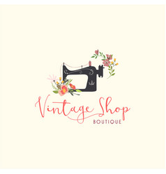 tailor sewing vintage fashion floral retro logo vector image