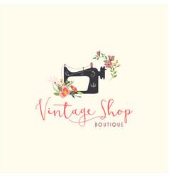 tailor sewing vintage fashion floral retro logo vector image
