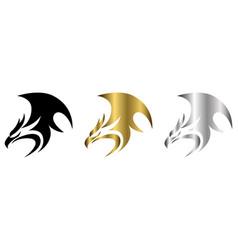 three color black gold silver logo phoenix vector image