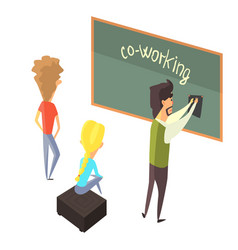 Three person with blackboard young people vector