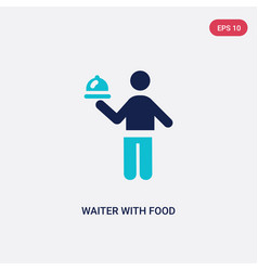 Two color waiter with food tray icon from vector