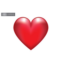 valentine love red heart on white background vector image