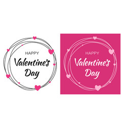 valentines day card design set heart circle frame vector image