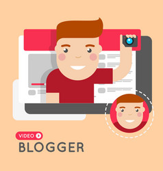 Video blogger flat style concept vector