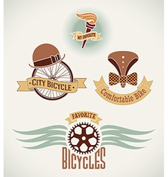 Vintage bicycle labels vector image