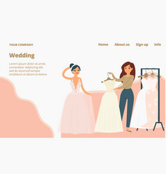 wedding dresses for brides landing page cartoon vector image