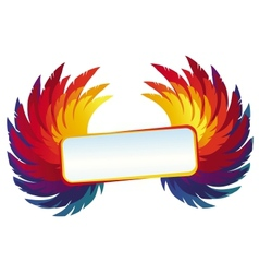 Wings with bright frame - rainbow template vector