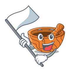 With flag wooden kitchen mortar isolated on mascot vector