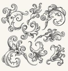 baroque swirl design element set vector image vector image