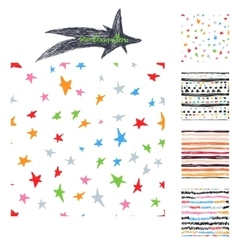 colorful hand drawing cute samless patterns vector image vector image