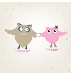 cute owls couple in love vector image