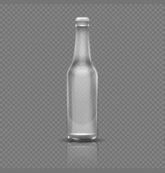 empty transparent beer or water bottle realistic vector image