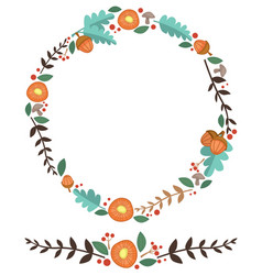 flowers acorn and leaves forest wreath vector image vector image