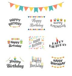 Happy birthday greeting cards birthday theme vector