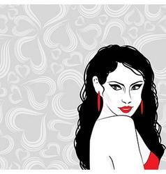 Beauty girl sketch woman face portrai vector image