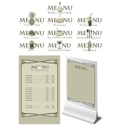 menu table vector image vector image