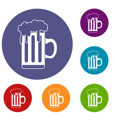 mug with beer icons set vector image vector image
