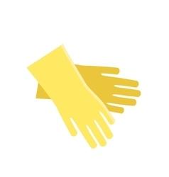 Rubber yellow gloves cartoon flat icon vector