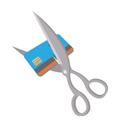 Scissors cutting credit card icon cartoon style vector image