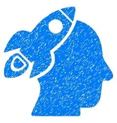 Space Rocket Thinking Head Grainy Texture Icon vector image vector image