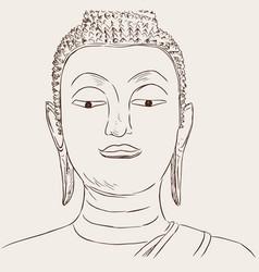 Thai culture concept with buddha hand drawb vector
